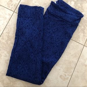 Blue pattern skinny pants